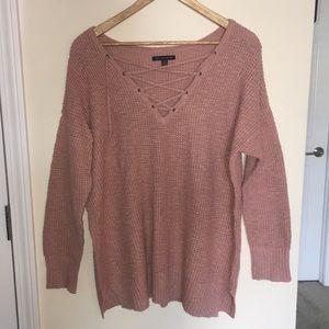 AEO Oversized Dusty Pink V-Neck Lace-Up Sweater